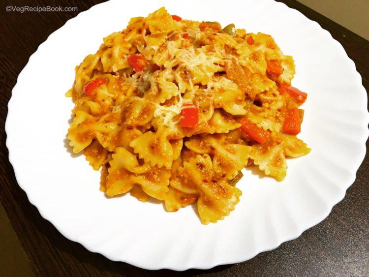 red sauce pasta recipe   pasta in red sauce recipe   veg pasta recipe