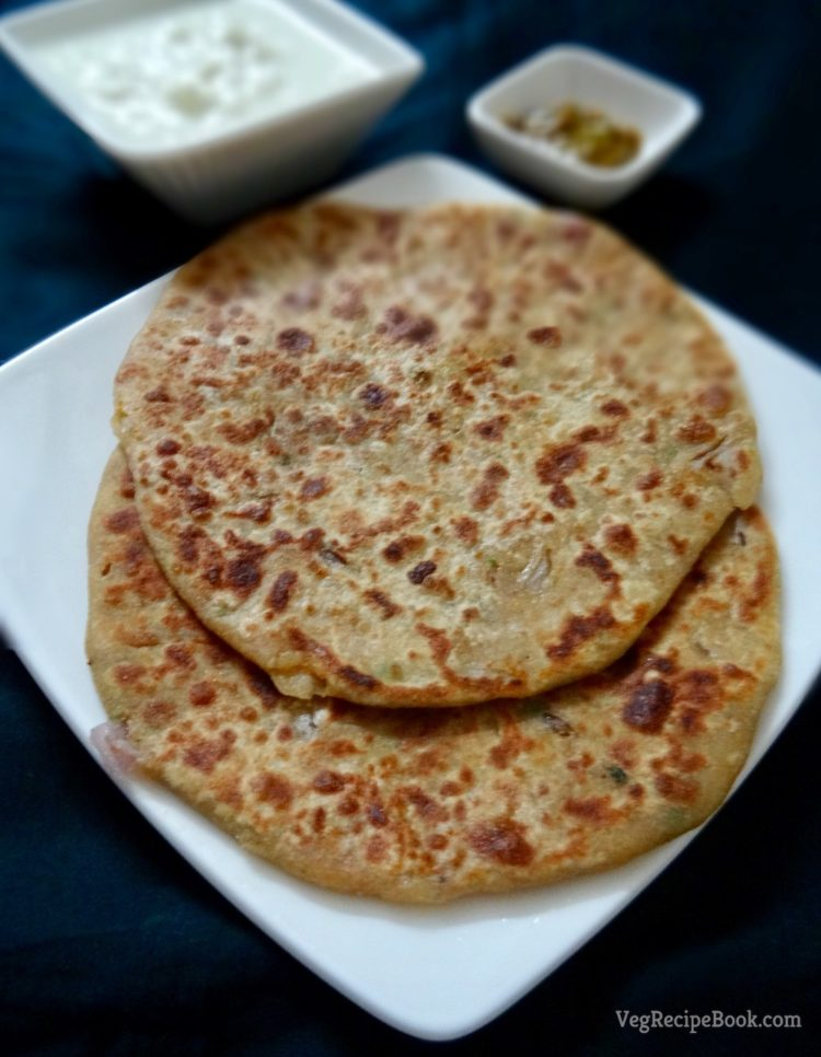 aloo pyaaz paratha recipe   flatbread stuffed with potato and onions   how to make aloo paratha recipe